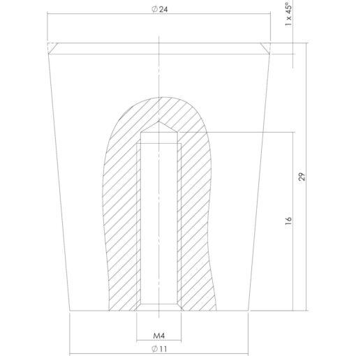 Intersteel kasttrekker diameter 24 mm INOX geborsteld - Technische tekening
