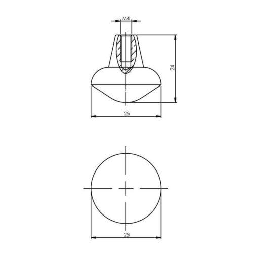 Intersteel kasttrekker diameter 25 mm mat zwart - Technische tekening