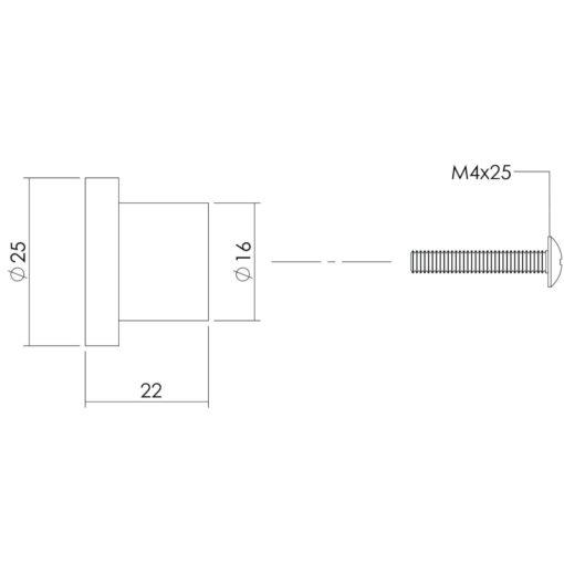 Intersteel kasttrekker diameter 25 mm plat INOX geborsteld - Technische tekening