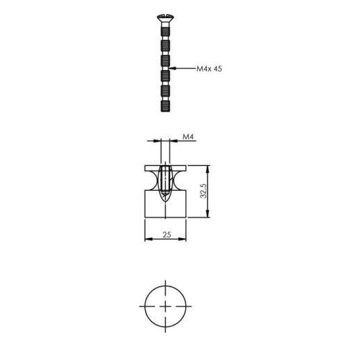 Intersteel kasttrekker diameter 25 mm recht nikkel mat - Technische tekening