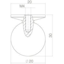 Intersteel kasttrekker diameter 30 mm bolrond nikkel mat - Technische tekening
