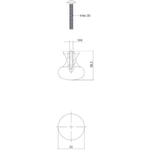 Intersteel kasttrekker diameter 35 mm smeedijzer zwart - Technische tekening