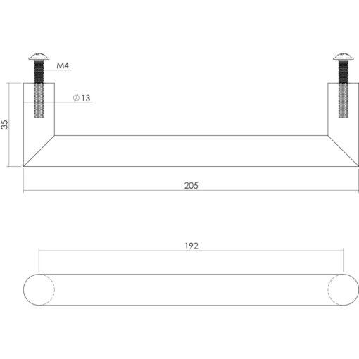 Intersteel kasttrekker hoek rond 205 mm INOX geborsteld - Technische tekening