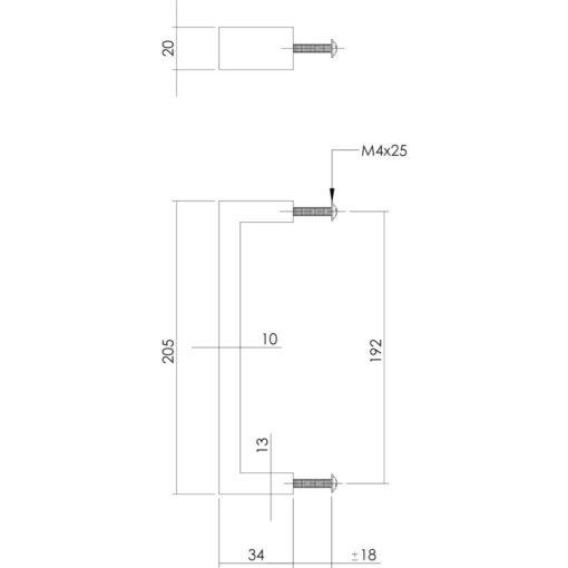 Intersteel kasttrekker rechthoek 205 mm INOX geborsteld - Technische tekening