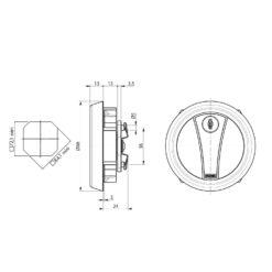 Ronis afsluitbare kastkomgreep 23100 - Technische tekening