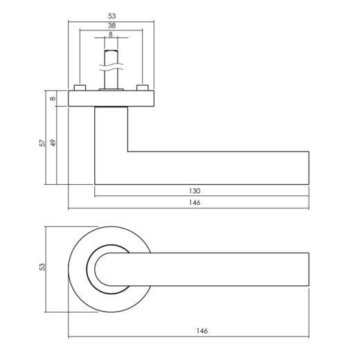 Deurkruk Bastian mat zwart - Technische tekening