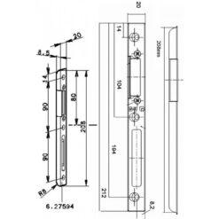 GU sluitplaat 6-27594 - Technische tekening