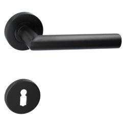 Intersteel deurkruk Bastian - Mat zwart - Rozet met baardopening