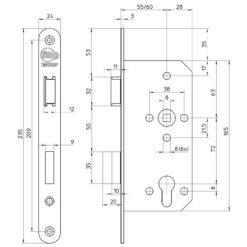 Litto A26E1 cilinderslot met RVS voorplaat - Technische tekening
