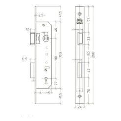 Litto M2452 baardslot - Technische tekening