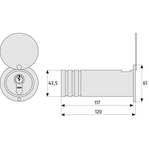 Abus inbouw sleutelkluis AB729 - Technische tekening