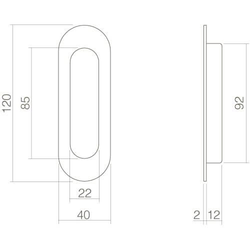 Schuifdeurkom afgerond 120 x 40 mm mat zwart - Technische tekening