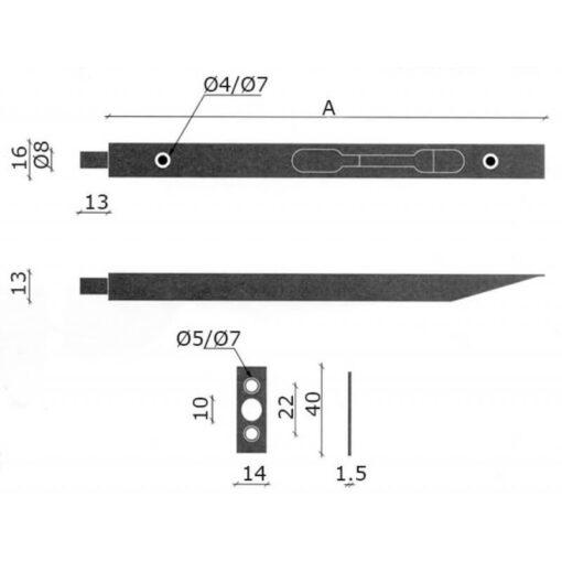 Tonic Line overleg kantschuif - Technische tekening