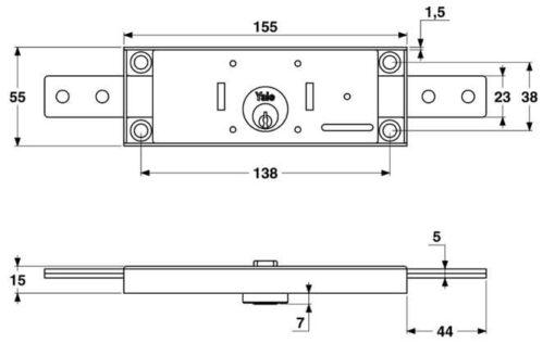 Yale 9B58015 slot voor metalen rolluik - Technische tekening