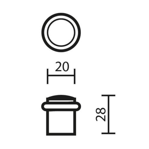 Deurstop Bora - Technische tekening