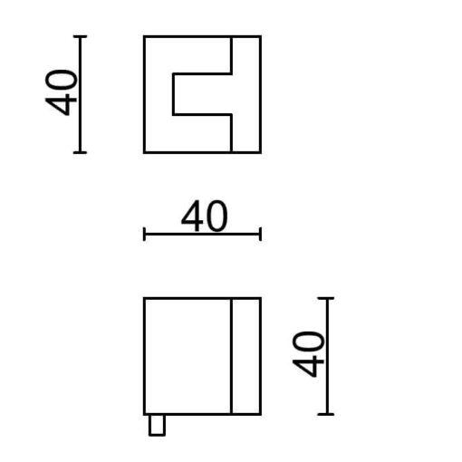 Deurstop Carre - Technische tekening