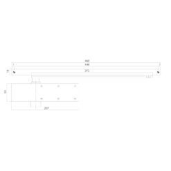 Intersteel zwarte deurpomp DR 124 - Technische tekening