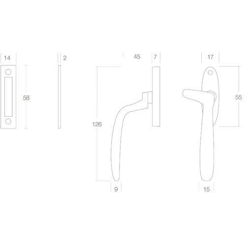 Intersteel Raamsluiting Dudok links mat zwart - Technische tekening