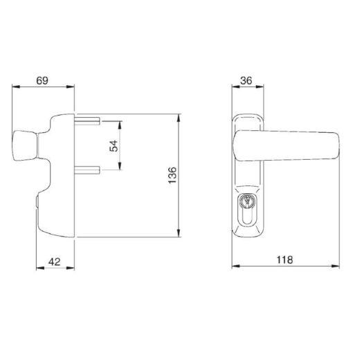 Iseo buitenmodule 94011005T - Technische tekening