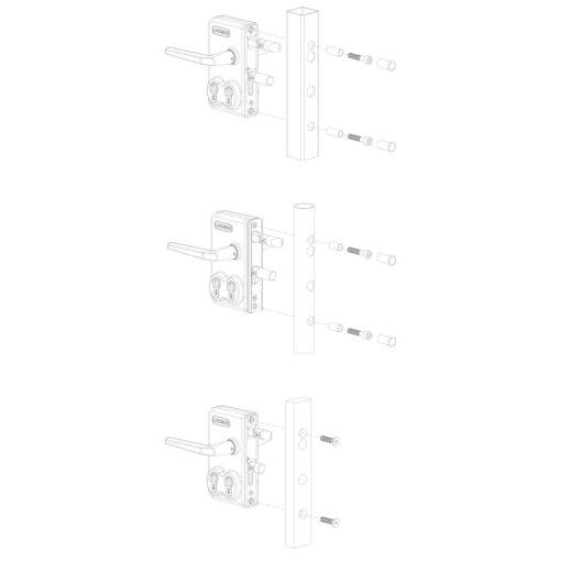 Locinox LDKZ poortslot in opbouw met dubbele cilinder - Profieltypes