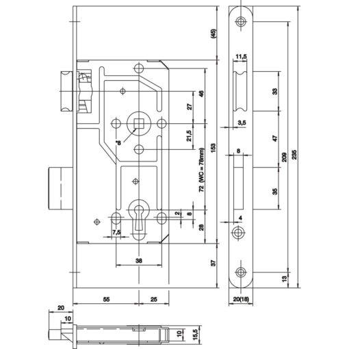 KFV 114 insteekslot - Technische tekening