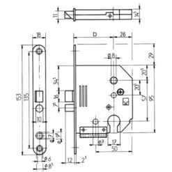 Lips 2135 cilinderslot voor Bruynzeel slot - Technische tekening