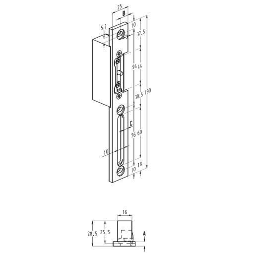 Sobinco 8355 sluitplaat voor elek opener - Technische tekening
