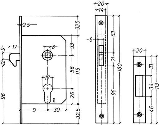 Litto A7659 haakslot met kruk - Technische tekening