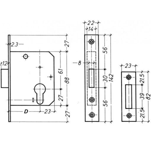 Litto nachtslot A4630 - Technische tekening