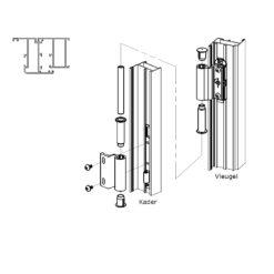Montage aanwijzing scharnier Sobinco 2800-1 en 2800-3 binnendraaiend