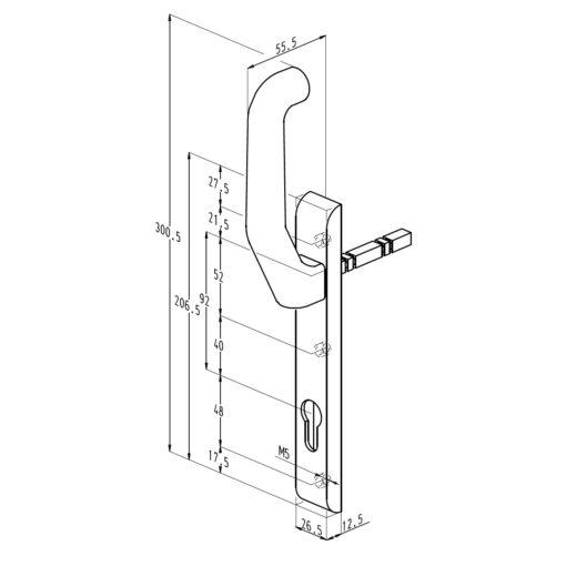 Sobinco 824BL VI rolluikkruk buitenzijde - Technische tekening
