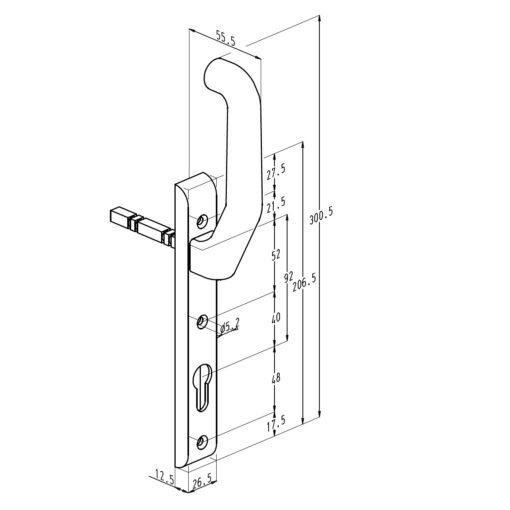 Sobinco 824BL rolluikkruk binnenzijde - Technische tekening