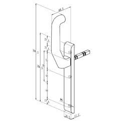 Sobinco 824CL VI beslag met kruk zonder cilinder - Technische tekening