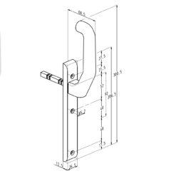 Sobinco 824CL beslag met kruk zonder cilinder - Technische tekening