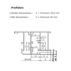 Sobinco scharnier 2800-1 voor binnendraaiende deuren - Technische tekening 2