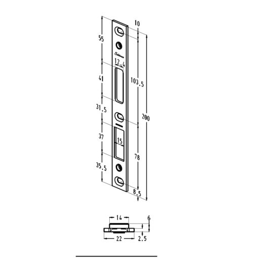 Sobinco sluitplaat 85010-22 - Technische tekening
