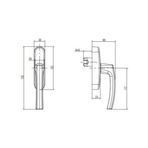 Roto raamkruk met vork - Technische tekening