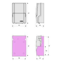 Abus Keygarage Mini 727 Sleutelkluis - Technische tekening