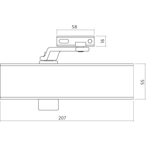 Intersteel 120 Deurpomp zwart met schaararm - Technische tekening