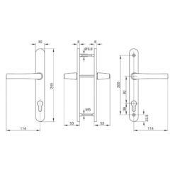 Roto 319954 krukpaar op smalschild met doorgaande bevestiging - Technische tekening