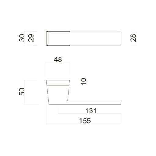HDD 6.492.093 deurkruk X-Treme - Mat zwart - Technische tekening
