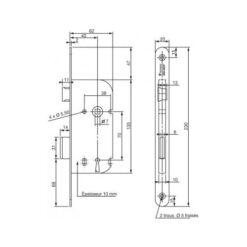 Vachette VLD15RG baardslot - Technische tekening