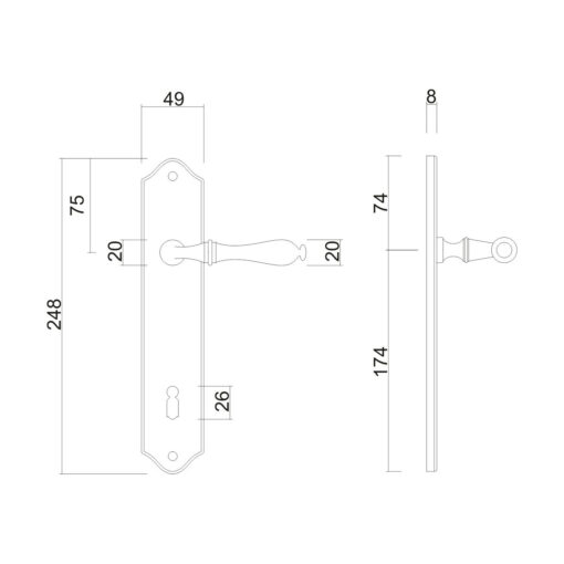 HDD PRO 6.521.090 deurkruk op plaat Lisa - Mat zwart - Technische tekening