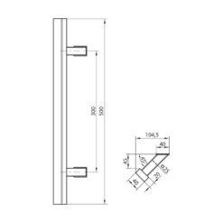 WALA rechthoekige deurgreep met schuine kant - Zwart - Technische tekening