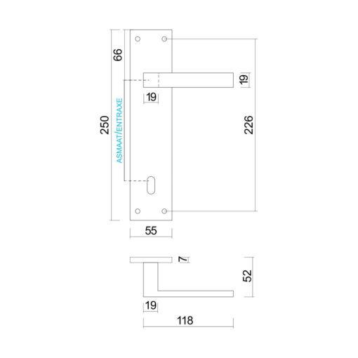 HDD Pro 6.548.09 Cosmic deurkruk op plaat - Mat zwart - Technische tekening