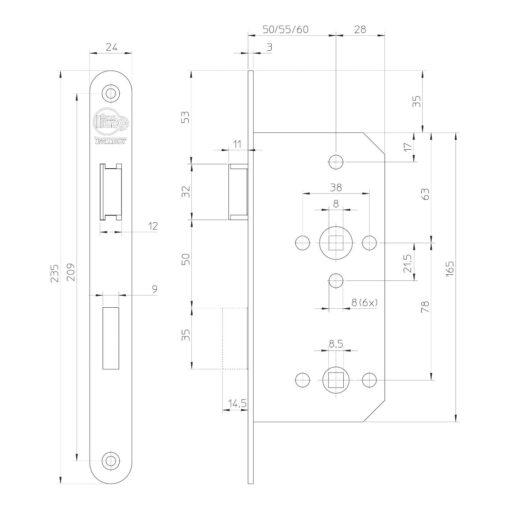 Litto toiletslot A15E6 - Technische tekening