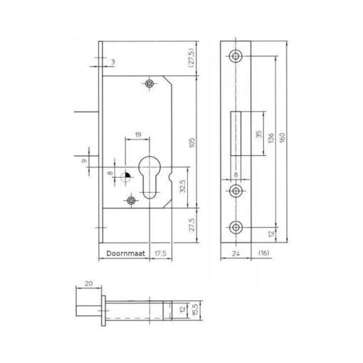 KFV 50 PZ nachtslot - Technische tekening