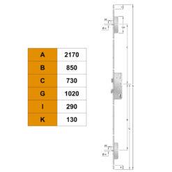 KFV AS2372 meerpuntssluiting met 2 pinnen as 72 - Technische tekening
