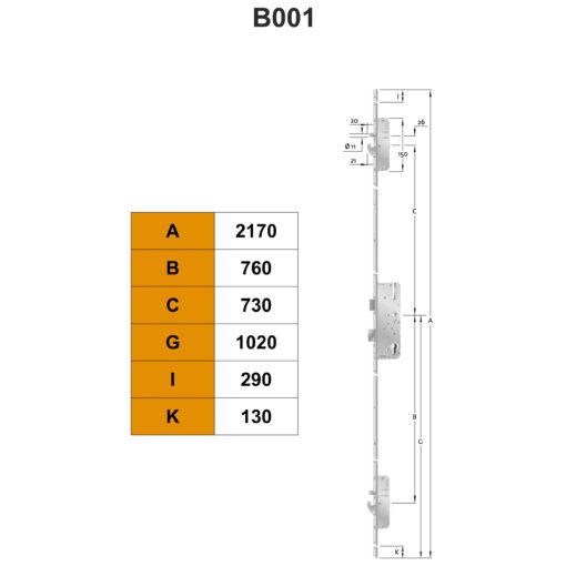 KFV AS2750 meerpuntssluiting met dag-haak - B001 - Technische tekening