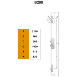 KFV AS2750 meerpuntssluiting met dag-haak - B298 - Technische tekening